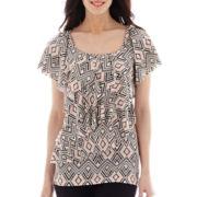 Alyx® Short-Sleeve Ruffle Print Blouse