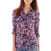 I 'Heart' Ronson® 3/4-Sleeve Roll-Tab Floral Print Blouse