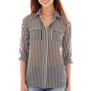 I 'Heart' Ronson® 3/4-Sleeve Roll-Tab Striped Blouse