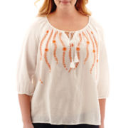 St. John's Bay® 3/4-Sleeve Vine Embroidered Peasant Top - Plus