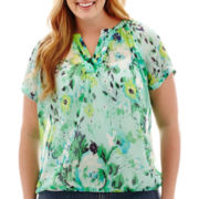 St. John's Bay® Short-Sleeve V-Neck Peasant Top - Plus