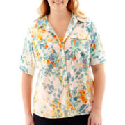 St. John's Bay® Roll-Sleeve Campshirt - Plus