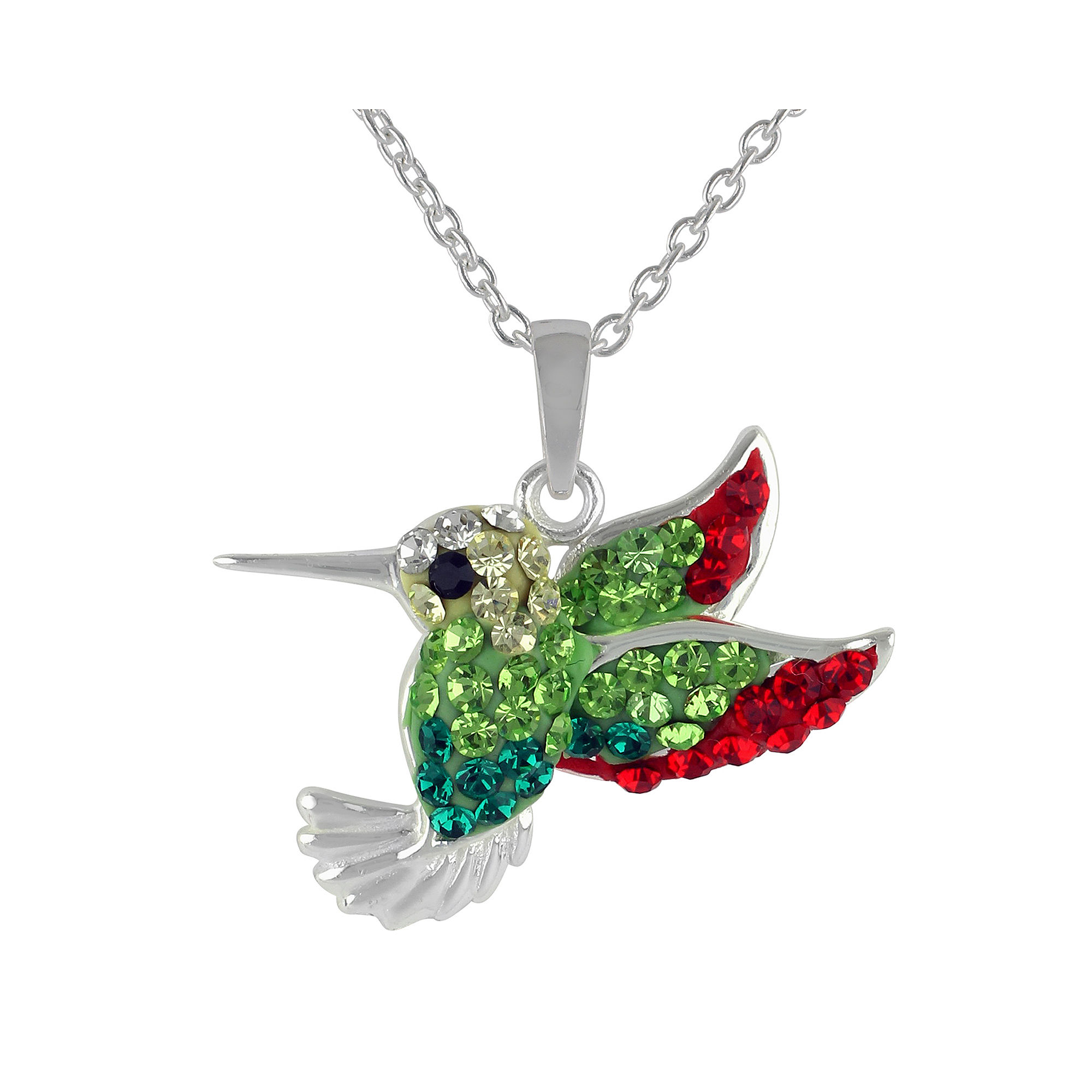 Hummingbird Crystal-Accent Pendant Necklace