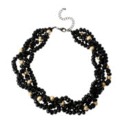 Mixit™ Black & Gold-Tone Bead Multi-Strand Torsade Necklace