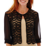 R&M Richards Elbow-Sleeve Lace Bolero Shrug