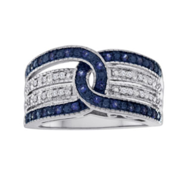 jcpenney.com | 1/4 CT. T.W. White and Color-Enhanced Blue Diamond Sterling Silver Ring