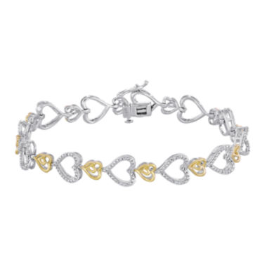 jcpenney.com | ForeverMine® 1/10 CT. T.W. Diamond Two-Tone Heart Link Bracelet