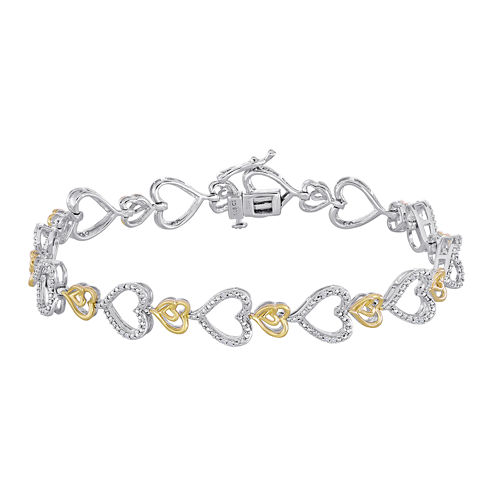 ForeverMine® 1/10 CT. T.W. Diamond Two-Tone Heart Link Bracelet