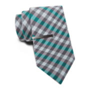 JF J. Ferrar® Blurred Gingham Slim Tie and Tie Bar Set