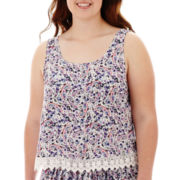 Arizona Cross-Back Crochet-Hem Tank Top - Plus