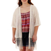 Arizona Elbow-Sleeve Fringe Kimono Cardigan - Plus