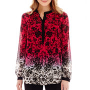 nicole by Nicole Miller® Long-Sleeve Print Tunic Top