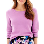 Worthington® 3/4-Sleeve Colorblock Crewneck Sweater