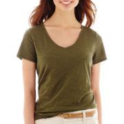 Stylus™ Short-Sleeve  V-Neck Slub T-Shirt