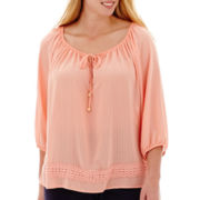 Alyx® 3/4-Sleeve Woven Top with Embroidery Trim - Plus