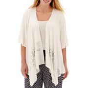 Alyx® 3/4-Sleeve Lace-Trim Cardigan Sweater Cozy - Plus