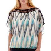 Alyx® Short-Sleeve Crochet-Trim Print Bubble Top - Plus