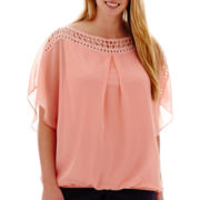 Alyx® Short-Sleeve Crochet-Trim Solid Bubble Top - Plus