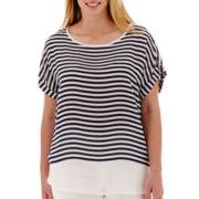 a.n.a® Short-Sleeve Chiffon-Trim Woven T-Shirt - Plus