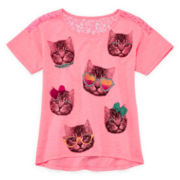 Total Girl® Lace-Back Tee - Girls 7-16 and Plus