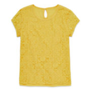 Arizona Short-Sleeve Lace Overlay Top - Girls 7-16 and Plus