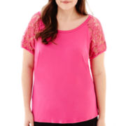 Bisou Bisou® Short-Sleeve Lace-Trim Tee - Plus