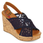 Pop Katrina Crisscross Lace Platform Wedge Sandals