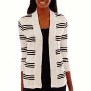 St. John's Bay® 3/4-Sleeve Flyaway Cardigan Sweater