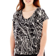 Worthington® Short-Sleeve V-Neck Blouson Top - Plus