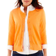 Stylus™ 3/4-Sleeve Crewneck Cardigan Sweater