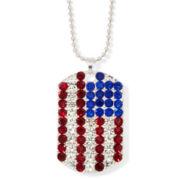 Arizona Crystal Silver-Tone American Flag Pendant Necklace