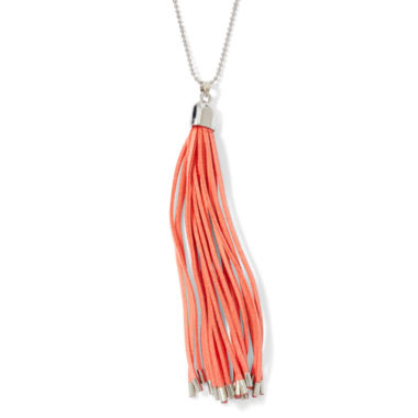 jcpenney.com | Decree® Pink Leather Tassel Silver-Tone Necklace
