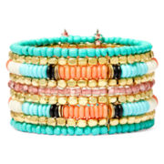 Decree® Multicolor Bead Gold-Tone Cuff Bracelet
