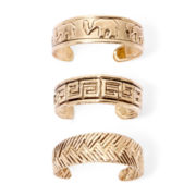 Arizona 3-pc. Gold-Tone Cuff Elephant Toe Ring Set