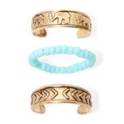 Arizona 3-pc. Gold-Tone Elephant Toe Ring Set