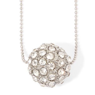 jcpenney.com | Arizona Silver-Tone Crystal Ball Pendant Necklace