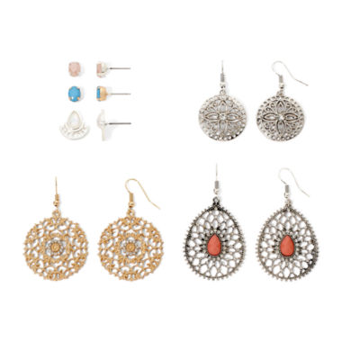 jcpenney.com | Arizona Openwork Textured Metal 6-pr. Earring Set