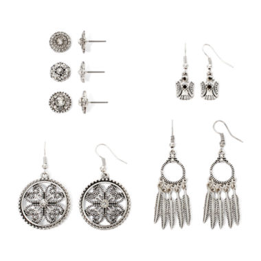 jcpenney.com | Arizona Clear Stone Textured Silver-Tone 6-pr. Earring Set