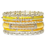 Mixit™ 9-pc. Yellow Silver-Tone Bangle Bracelet Set