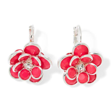 jcpenney.com | Mixit™ Pink Silver-Tone Flower Drop Earrings