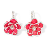 Mixit™ Pink Silver-Tone Flower Drop Earrings