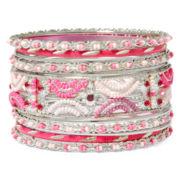 Mixit™ 11-pc. Pink Silver-Tone Bangle Bracelet Set