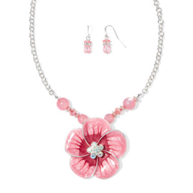 jcpenney.com | Mixit™ Pink Silver-Tone Flower Necklace and Earrings Set