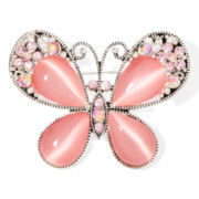 Mixit™ Pink Silver-Tone Butterfly Pin