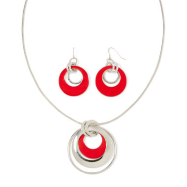 jcpenney.com | Mixit™ Red Stone Silver-Tone Chain Necklace and Earrings Set