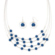 Mixit™ Navy Stone Silver-Tone Necklace and Earrings Set