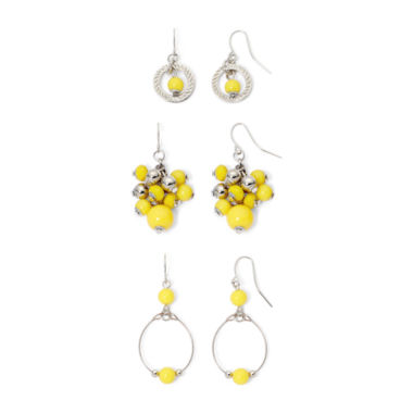 jcpenney.com | Mixit™ Yellow Silver-Tone 3-pr. Orbital Drop Earrings Set
