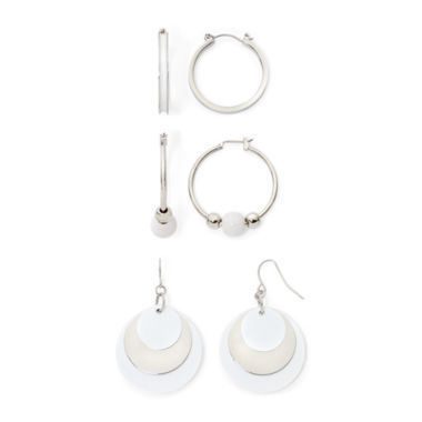 jcpenney.com | Mixit™ White Silver-Tone 3-pr. Hoop Earrings Set