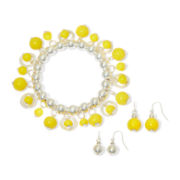 Mixit™ Yellow Silver-Tone Stretch Bracelet and Drop Earrings Set