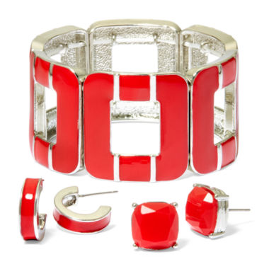 jcpenney.com | Mixit™ 3-pc. Red Silver-Tone Stretch Bracelet and Earring Set